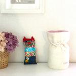 ペットの「ふわもこ骨壷カバー」オーダー例 表:ホワイト 裏:シェルピンク