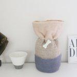 ペットの「ふわもこ骨壷カバー」オーダー例 表:ミルクティー、ホワイトブラウン、グレー 裏:ベージュ