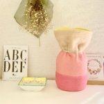 ペットの「ふわもこ骨壷カバー」オーダー例 表:ミルクティ・サーモンピンク・ピンク 裏:イエロー