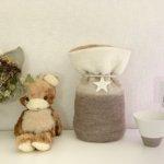 ペットの「ふわもこ骨壷カバー」オーダー例 表:ホワイト、ホワイトブラウン、ブラウンシルバー 裏:ベージュ