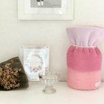 ペットの「ふわもこ骨壷カバー」オーダー例 表:シェルピンク・ピンク・サーモンピンク 裏:ホワイト