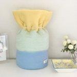 ペットの「ふわもこ骨壷カバー」オーダー例 表:レモン・ミント・ライトブルー 裏:ホワイト